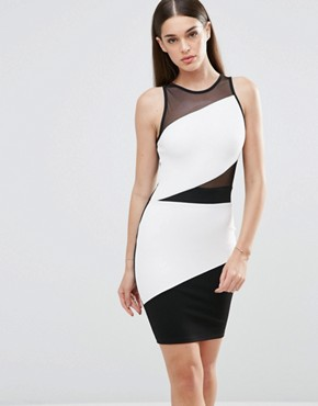 photo Colourblock Bodycon Dress with Mesh Detail by Sistaglam, color Black - Image 1