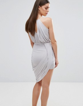 photo Cross Front Dress with Asymmetric Hem by Sistaglam, color Grey - Image 2