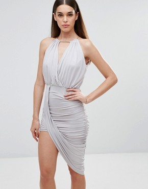 photo Cross Front Dress with Asymmetric Hem by Sistaglam, color Grey - Image 1