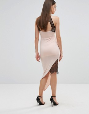 photo Pencil Dress with Asymmetric Hem and Lace Inserts by Sistaglam, color White - Image 2