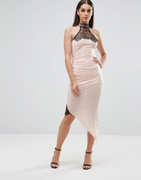 photo Pencil Dress with Asymmetric Hem and Lace Inserts by Sistaglam, color White - Image 1