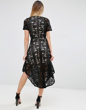 photo Midi Skater Dress In Lace by Jessica Wright, color Black/Nude - Image 2