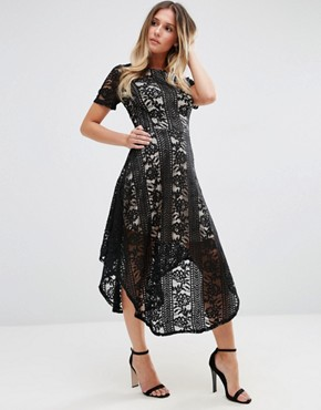 photo Midi Skater Dress In Lace by Jessica Wright, color Black/Nude - Image 1
