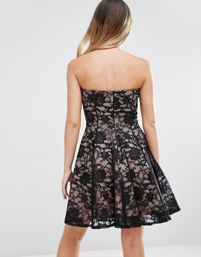 photo Sweetheart Neckline Lace Dress by Jessica Wright, color Black/Nude - Image 2