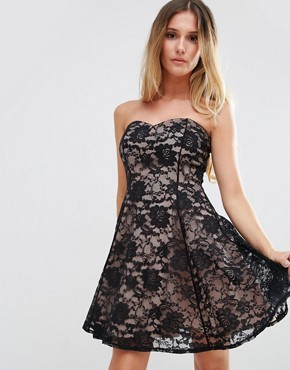 photo Sweetheart Neckline Lace Dress by Jessica Wright, color Black/Nude - Image 1