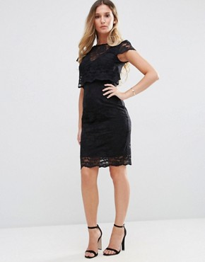 photo Lace Overlay Pencil Midi Dress by Jessica Wright, color Black - Image 1
