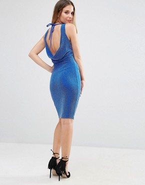 photo Lurex Glitter Dress with Tie Back by Jessica Wright, color Cobalt Blue - Image 1