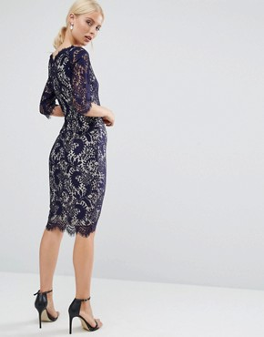 photo 3/4 Sleeve Lace Pencil Dress With Contrast Lining by Jessica Wright, color Navy/Nude - Image 2