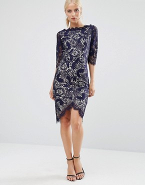 photo 3/4 Sleeve Lace Pencil Dress With Contrast Lining by Jessica Wright, color Navy/Nude - Image 1