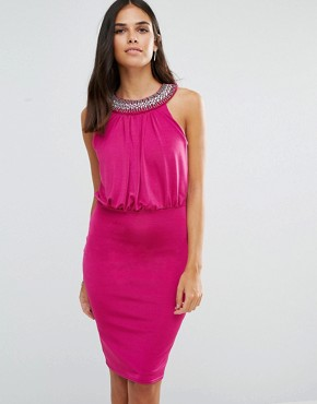 photo Pencil Dress with Embellished Neckline by Jessica Wright, color Pink - Image 1