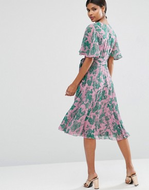 photo Pleated Midi Dress in Floral Print by ASOS, color  - Image 2