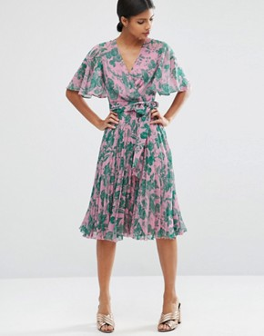 photo Pleated Midi Dress in Floral Print by ASOS, color  - Image 1