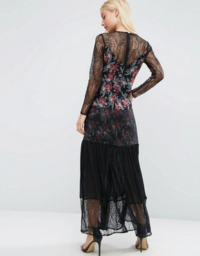 photo Lace Insert Pleated Maxi Dress in Ditsy Print by ASOS PREMIUM, color  - Image 2