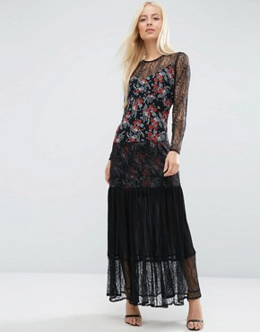 photo Lace Insert Pleated Maxi Dress in Ditsy Print by ASOS PREMIUM, color  - Image 1