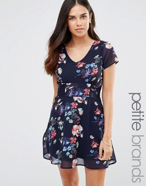 photo Tea Dress with Lace Inserts In Floral Print by Yumi Petite, color Navy - Image 1