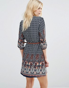 photo Belted Dress In Border Print by Yumi Petite, color Navy - Image 2