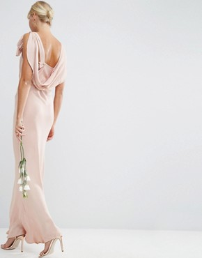 photo Bias Cut Satin Maxi Dress by ASOS WEDDING, color Blush - Image 2