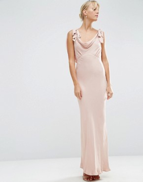 photo Bias Cut Satin Maxi Dress by ASOS WEDDING, color Blush - Image 1