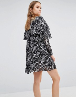 photo Smock Dress with Frill Detail by Lost Ink, color Black - Image 2