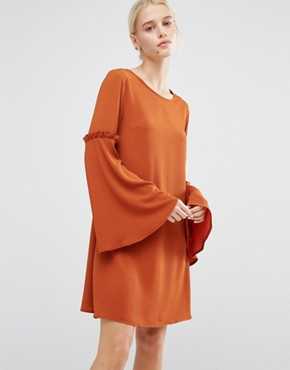 photo Swing Dress with Bell Sleeves & Ruffles by Lost Ink, color Rust - Image 1