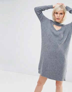 photo High Neck Choker Cut Out Knitted Dress by Lost Ink, color Grey - Image 1