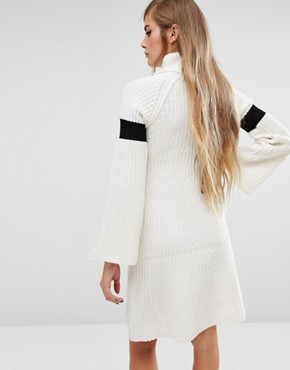 photo High Neck Knitted Dress with Bell Sleeves by Lost Ink, color Cream - Image 2