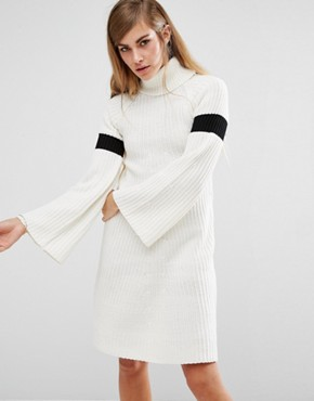 photo High Neck Knitted Dress with Bell Sleeves by Lost Ink, color Cream - Image 1