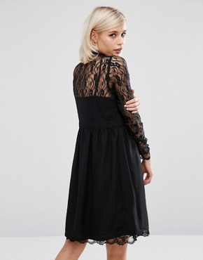 photo Smock Shirt Dress with Lace Panel by Lost Ink, color Black - Image 2