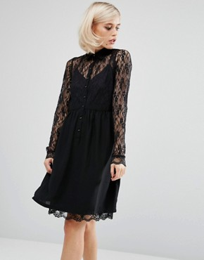 photo Smock Shirt Dress with Lace Panel by Lost Ink, color Black - Image 1