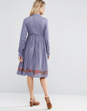 photo Button Through Shirt Skater Dress with Embroidery by ASOS Maternity, color Blue - Image 2