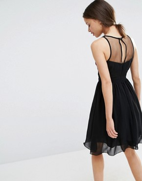 photo Sheer Mesh Detail Mini Skater With Contrast Floral Embroidery by Little Mistress Petite, color Black - Image 2