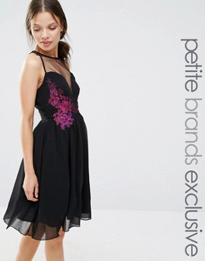 photo Sheer Mesh Detail Mini Skater With Contrast Floral Embroidery by Little Mistress Petite, color Black - Image 1