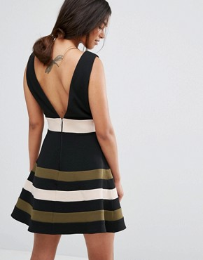 photo Sleeveless Prom Dress with Stripe Skirt by Paper Dolls Petite, color Black/Khaki - Image 2