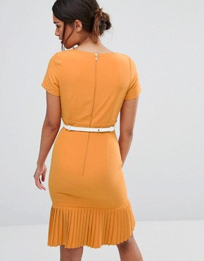 photo Plunge Front Dress with Pleated Hem by Paper Dolls Petite, color Mustard - Image 2