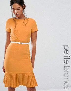 photo Plunge Front Dress with Pleated Hem by Paper Dolls Petite, color Mustard - Image 1