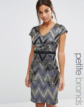 photo V Neck Cap Sleeve All Over Sequin Pencil Dress by Paper Dolls Petite, color Silver - Image 1