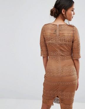 photo 1/2 Sleeve All Over Lace Pencil Dress by Paper Dolls Petite, color Camel - Image 2