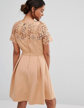 photo Prom Dress with Tonal Lace Overlay by Paper Dolls Petite, color Camel - Image 2