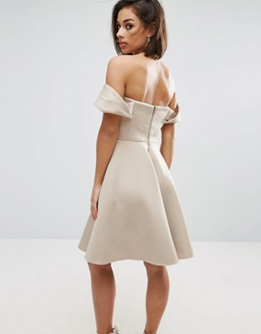 photo Off Shoulder Structured Full Midi Prom Dress by True Decadence Petite, color Caramac - Image 2
