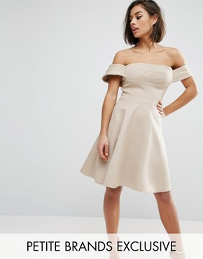 photo Off Shoulder Structured Full Midi Prom Dress by True Decadence Petite, color Caramac - Image 1