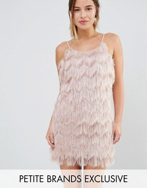 photo Fringe Layered Cami Mini Dress by True Decadence Petite, color Blush - Image 1