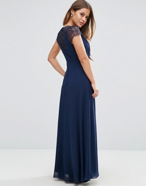 photo Occasion Lace Maxi Dress by ASOS PETITE, color Navy - Image 2