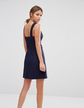 photo Pinafore Tab Dress by Oasis, color Navy - Image 2