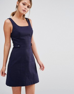 photo Pinafore Tab Dress by Oasis, color Navy - Image 1