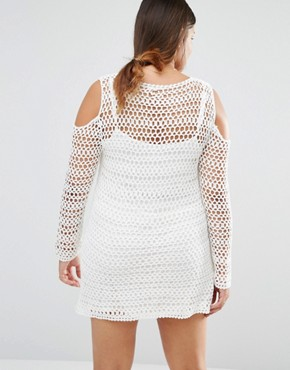 photo Crochet Dress by Missguided Plus, color White - Image 2