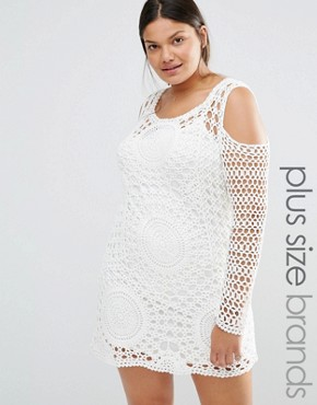 photo Crochet Dress by Missguided Plus, color White - Image 1