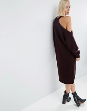 photo Knitted Midi Dress with Cut Out Shoulder Detail by ASOS WHITE, color Dark Red - Image 2