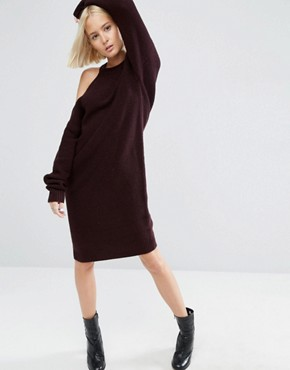 photo Knitted Midi Dress with Cut Out Shoulder Detail by ASOS WHITE, color Dark Red - Image 1