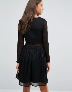 photo Long Sleeve Dress with Lace Insert by Y.A.S Tall, color Black - Image 2