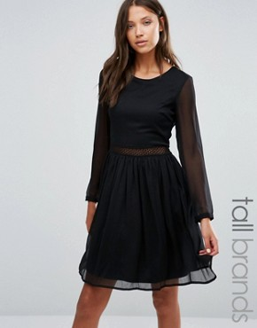photo Long Sleeve Dress with Lace Insert by Y.A.S Tall, color Black - Image 1
